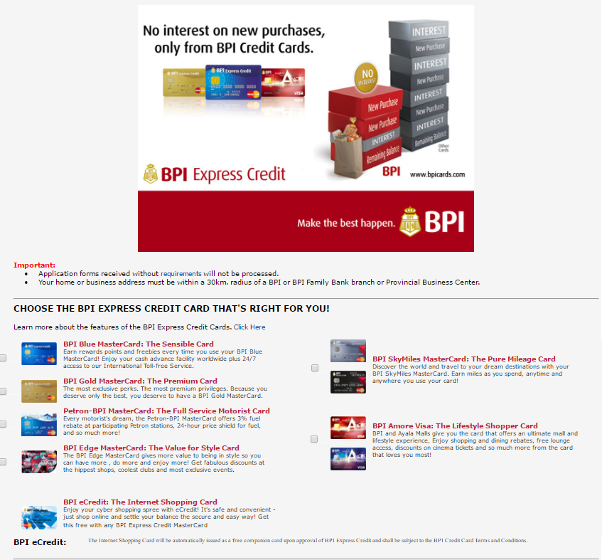 BPI Credit Card Application | MoneyMax.ph