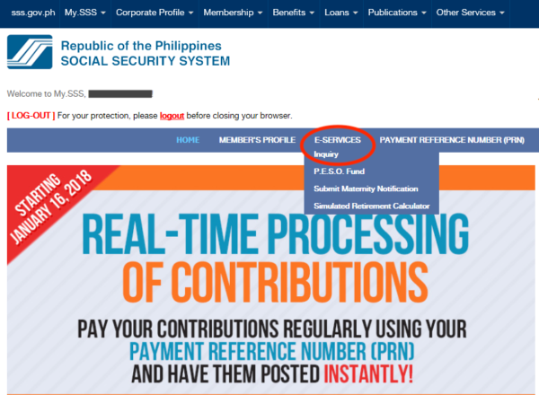 SSS Contribution Online - Go to the Member Inquiry Page