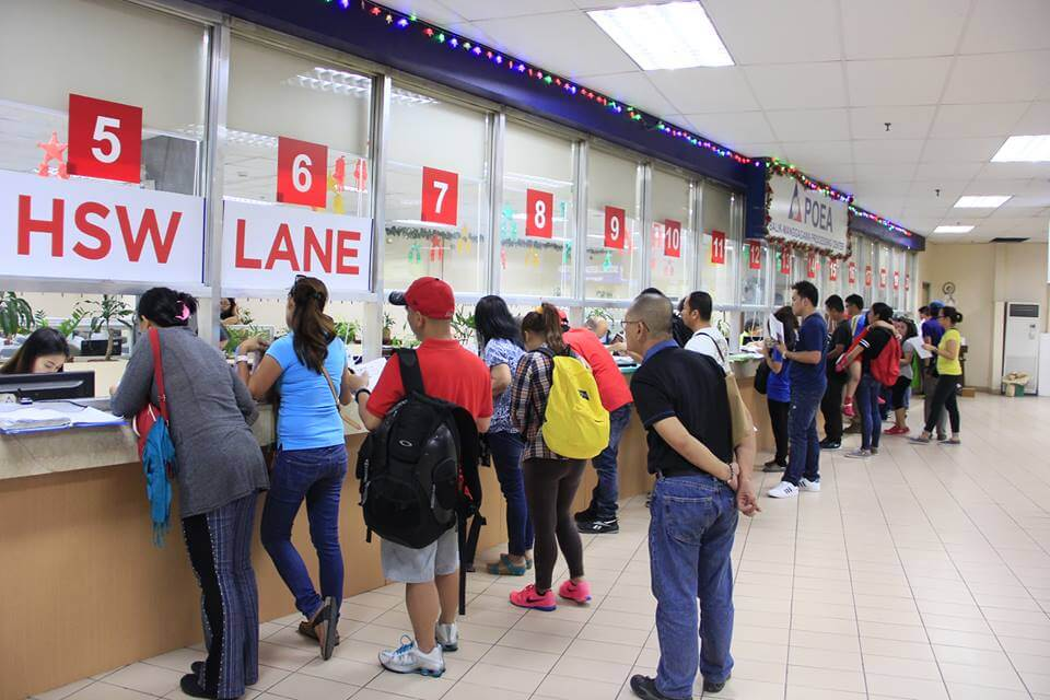POEA counter with OFWs submitting their requirements