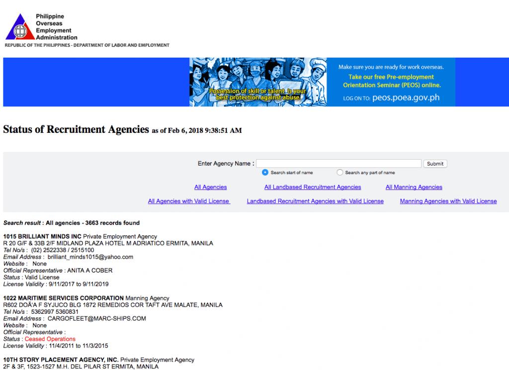 POEA recruitment agency status verification