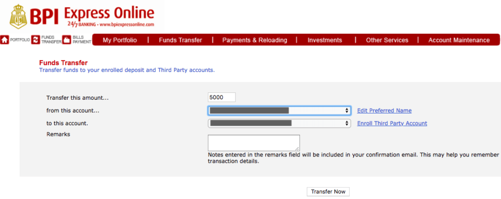BPI Online Banking Funds Transfer | MoneyMax.ph