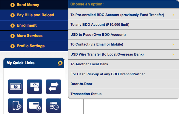 BDO Online Banking - Send Money | MoneyMax.ph