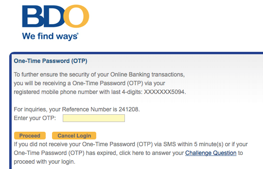 BDO Online Banking - OTP | MoneyMax.ph
