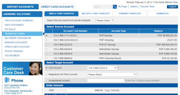 Metrobank Direct Online - Metrobank Direct Transfer Funds