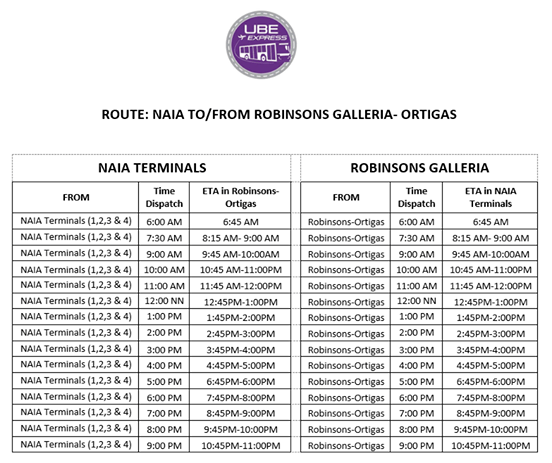 UBE Express Robinsons Galleria to NAIA List of Terminals