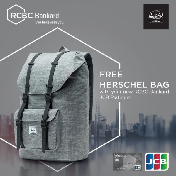 RCBC Credit Card Promo - Free Herschel Bag