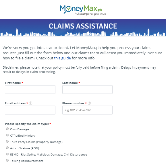 Claims Assistance Form | MoneyMax.ph