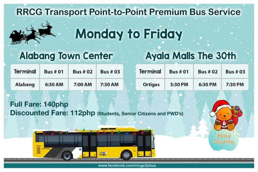 P2P Bus Route Schedule - Alabang Town Center to Ayala Malls the 30th