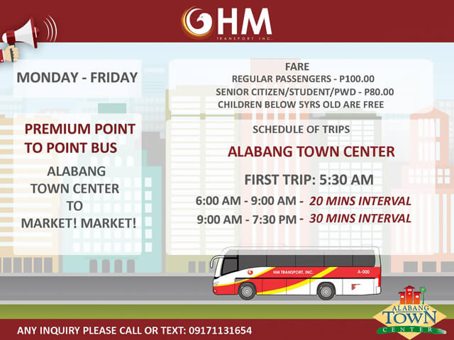 P2P Bus Route Schedule - Alabang Town Center to BGC