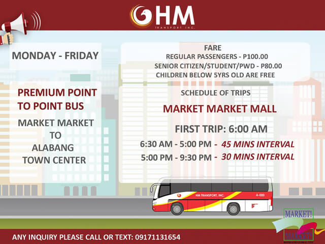 P2P Bus Route Schedule - Alabang Town Center to Market Market