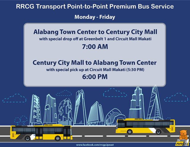 P2P Bus Route Schedule - Alabang Town Center to Century City Mall Makati