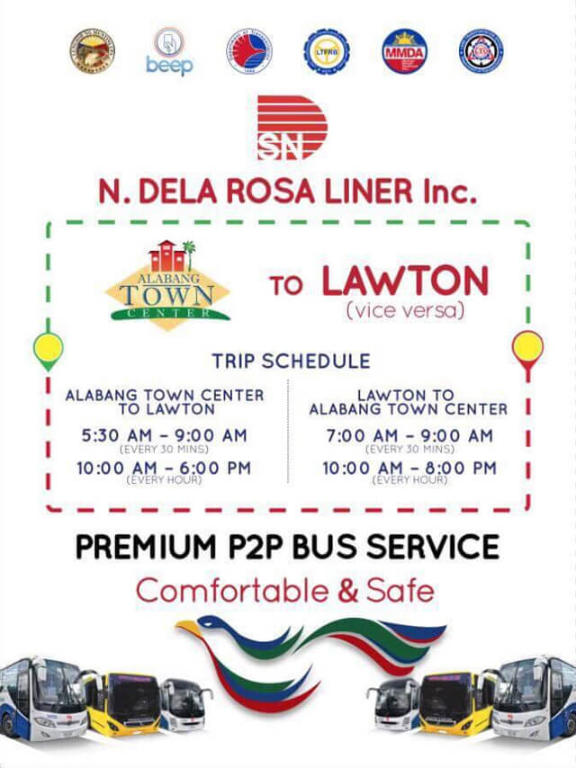 P2P Bus Route Schedule - Alabang Town Center to Lawton