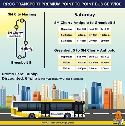 P2P Bus Route Schedule - Antipolo to Greenbelt