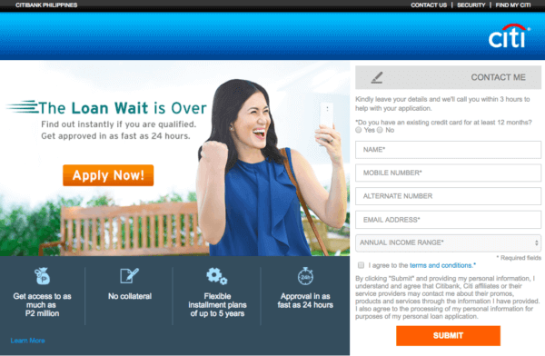 Citibank Online Loan Application Form