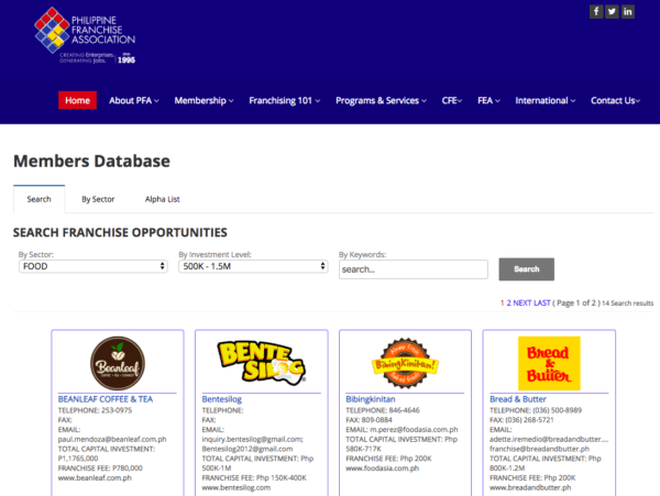 Philippine Franchise Association Member Directory