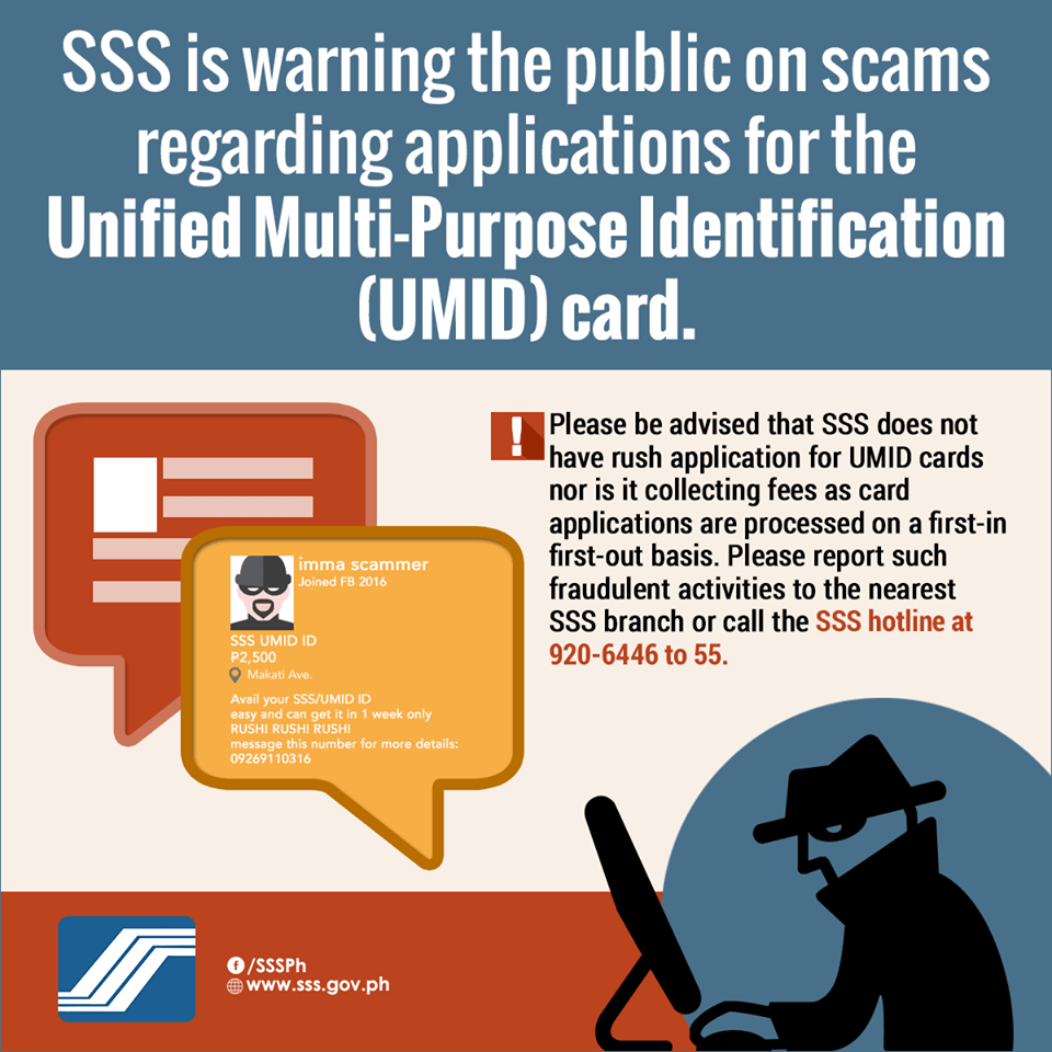 SSS is warning the public on scams regarding UMID card applications