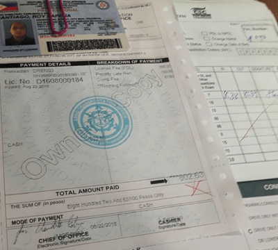 LTO Fees for Driver's License Application and Renewal