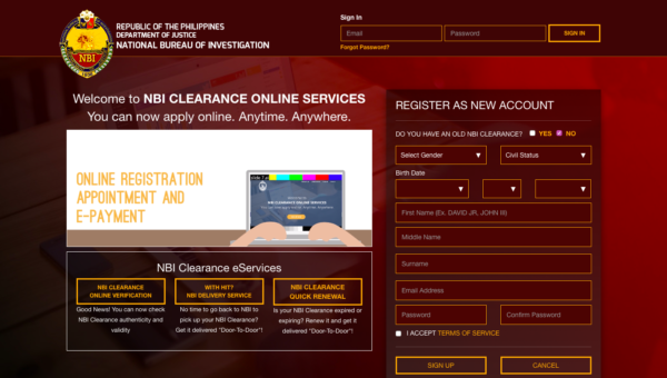 NBI Clearance Online Application - NBI Online Registration