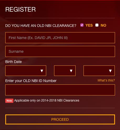 Registration Fields for Online NBI Clearance Renewal