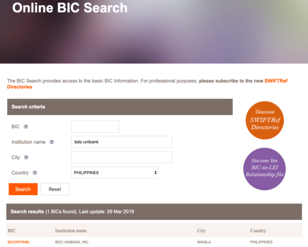 SWIFT Codes BIC Online Search