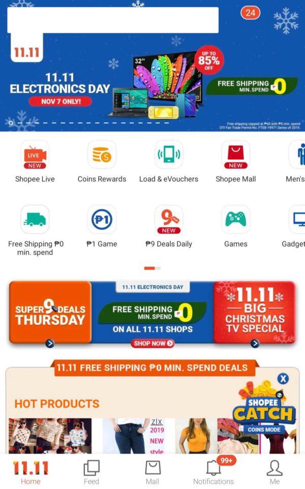Lazada vs Shopee - Shopee 11.11 homescreen