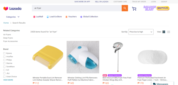 lazada vs shopee - lazada air fryer search