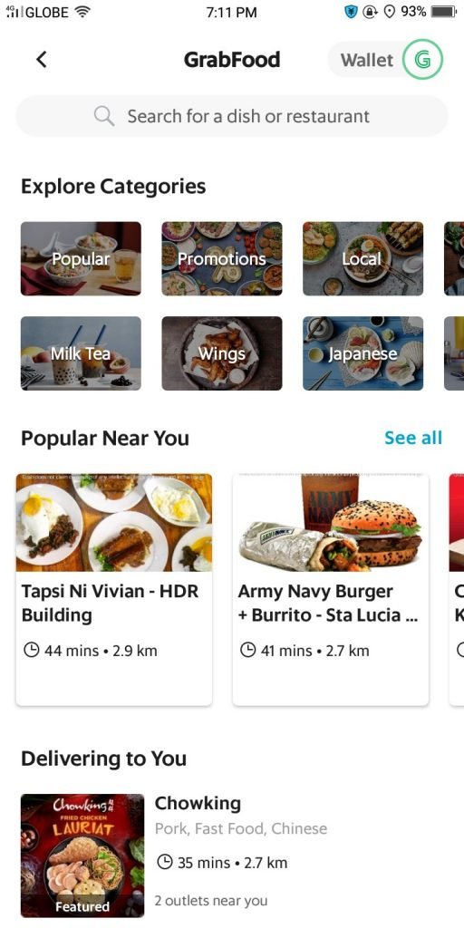 GrabFood App: tapsi ni vivian, army navy burger + burrito, chowking
