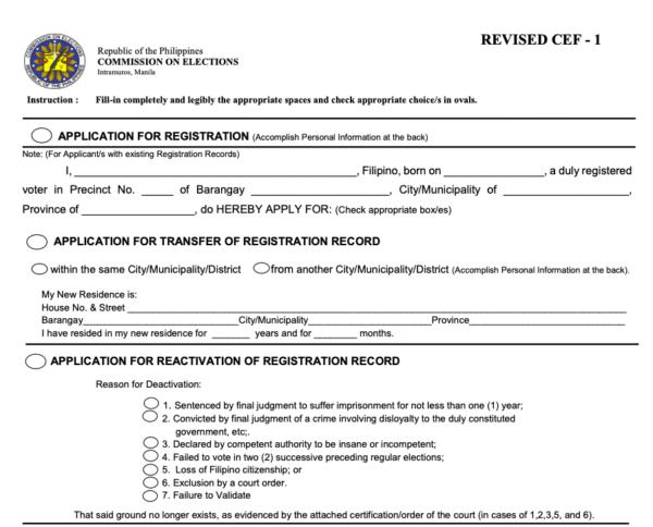 comelec registration 2020 - voter's registration form