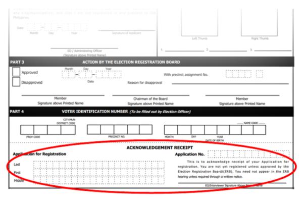 Voter's Registration 2019 Application Steps - Wait for Your Acknowledgment Receipt