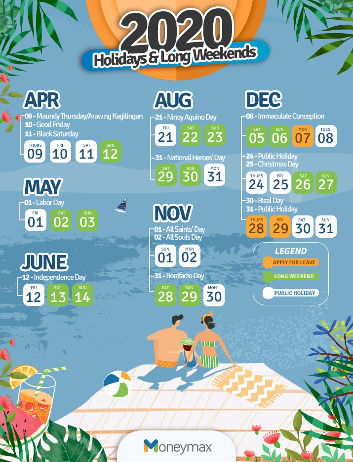 List of Philippine holidays and long weekends - updated infographics.