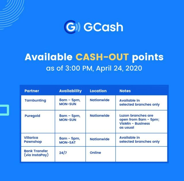 GCash app - lockdown cash-out