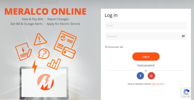 Meralco Online - desktop website