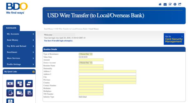 BDO Online Banking Guide - BDO Online Banking to International Banks