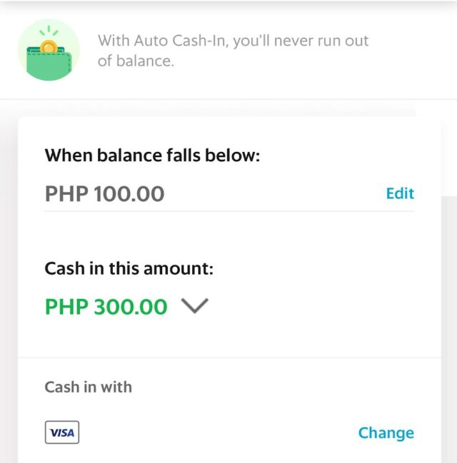 GrabPay - Auto cash-in