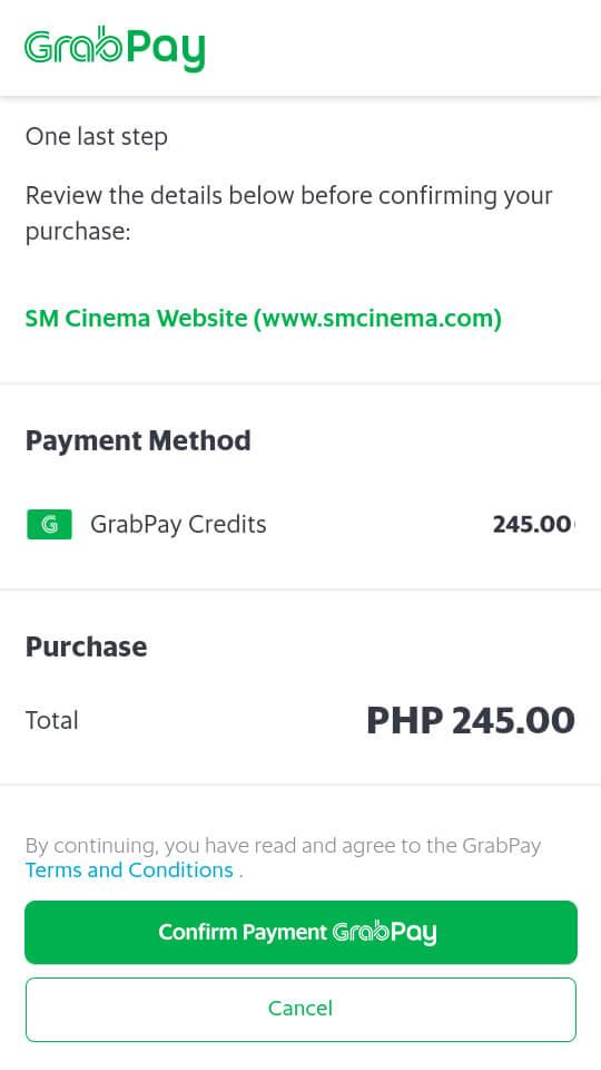 GrabPay - online payment