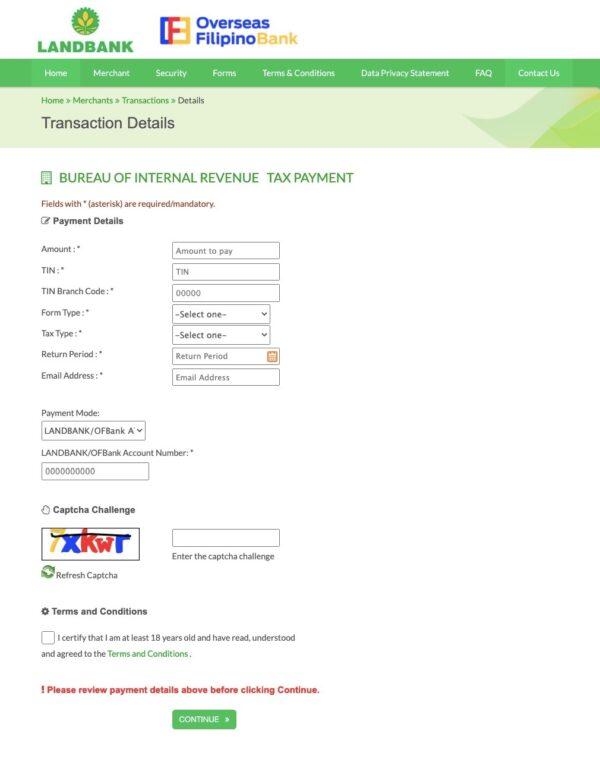 BIR Online Payment Guide - How to Pay via Landbank/PESONet