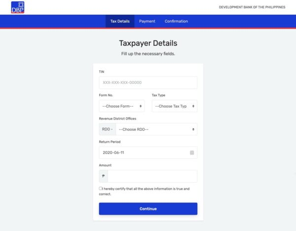 BIR Online Payment Guide - How to Pay via DBP Pay Tax Online
