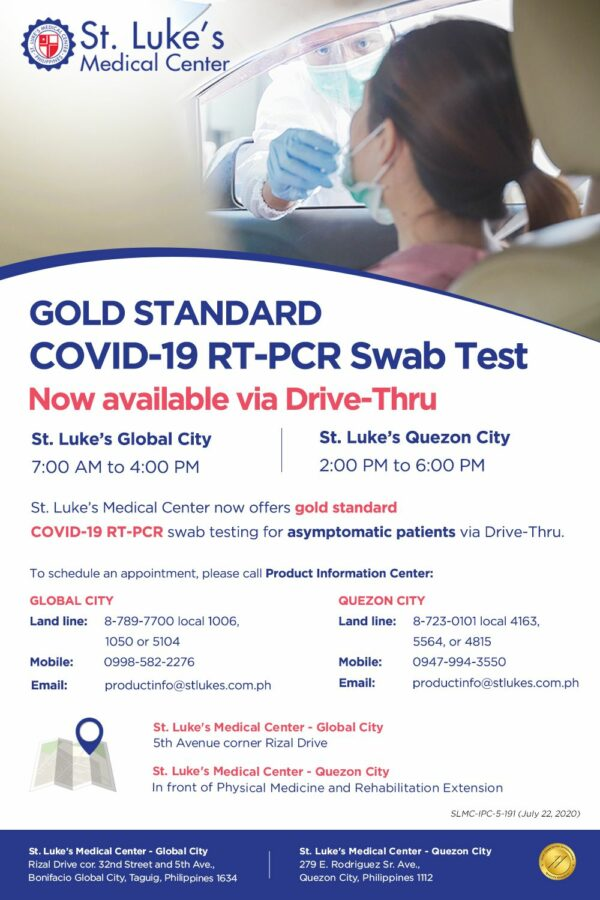COVID-19 Testing Centers in Metro Manila - St. Luke's Medical Center