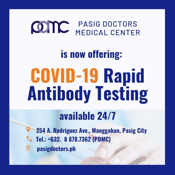 COVID-19 Testing Centers in Metro Manila - Pasig Doctors Medical Center