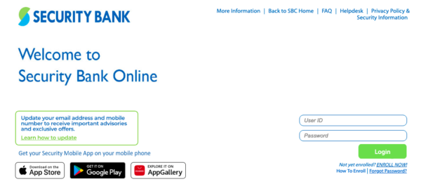 security bank online guide - online registration