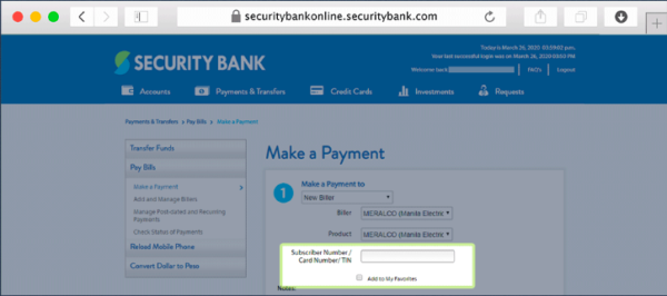security bank online guide - security bank bills payment