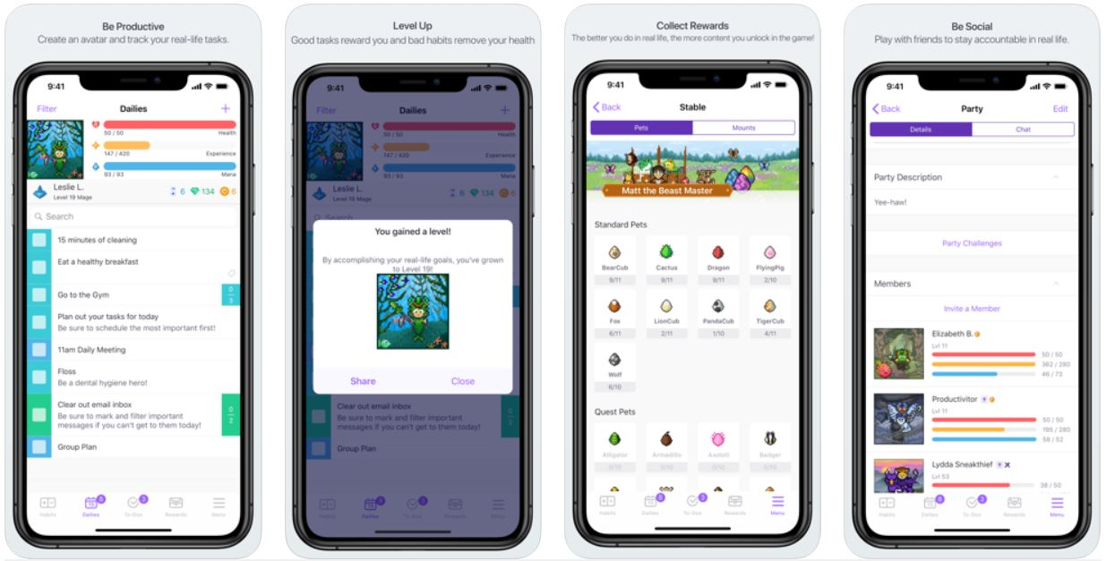 productivity apps - habitica